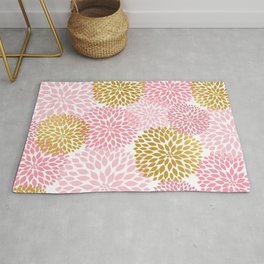 Pink and Gold Dahlias floral art Rug