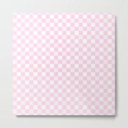 Classic gingham, pink Metal Print