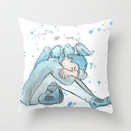Sleepy Blues Throw Pillow