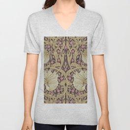 William Morris Pimpernel Orchid & Violets Floral Textile Pattern Unisex V-Neck