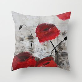 Sloppy Poppy Throw Pillow