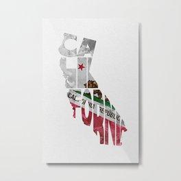 California Typographic Flag Map Art Metal Print