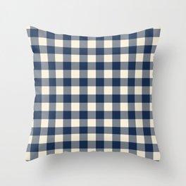 Buffalo Plaid Rustic Lumberjack Blue and White Check Pattern Throw Pillow