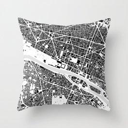 Paris building map Throw Pillow