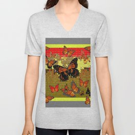 Abstracted Black & Orange Monarch Butterflies Red Unisex V-Neck