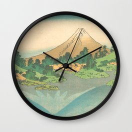 Reflection in Lake at Misaka in Kai Province, Thirty-six Views of Mount Fuji by Katsushika Hokusai Wall Clock