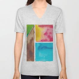 180811 Watercolor Block Swatches 10| Colorful Abstract |Geometrical Art Unisex V-Neck
