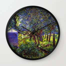 Giverny Blossoming Lilac Landscape, in Monet's Garden by Lillian Cabot Perry Wall Clock