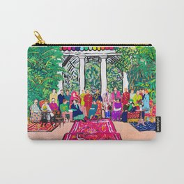 This is not a Party: Brightly colored painting of a group of people in a gigantic greenhouse with rugs and rainbow clothing Carry-All Pouch