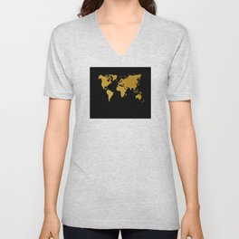 Black Gold World Map Unisex V-Neck
