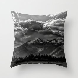 Mountain and Clouds Throw Pillow