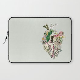 Vintage Botanical Heart On Green Laptop Sleeve