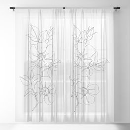 Floral one line drawing - Rose Sheer Curtain