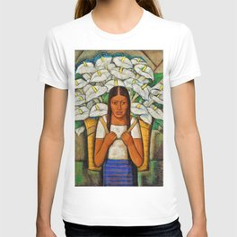 Young Guadalajara Flower Seller with Calla Lilies by Diego Rivera T-shirt
