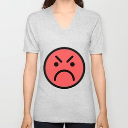Smiley Face   Red Angry Face Unisex V-Neck