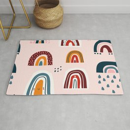 Lovely rainbow doodles hand drawn pattern Rug