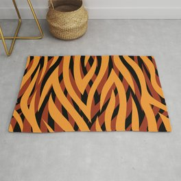Large Golden Brown Tiger Animal Print Rug