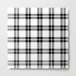 White #ffffff color themed plaid SCOTTISH TARTAN Checkered Fabric Pattern texture background Metal Print