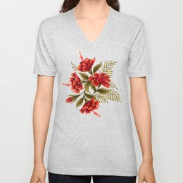 Hibiscus Floral - Red / Black Unisex V-Neck