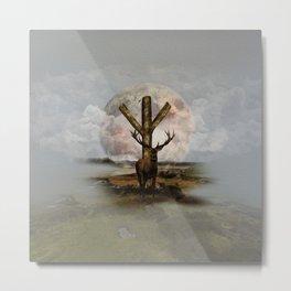 Algiz  Rune and Deer Digital Art Collage Metal Print