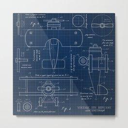 Toy Airplane Blueprint Metal Print