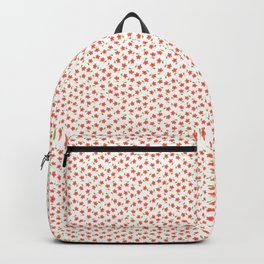 Ditsy Floral - Coral and Green on White Backpack