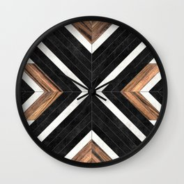 Urban Tribal Pattern No.1 - Concrete and Wood Wall Clock