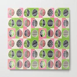 Easter Egg Batik / Pink and Green Metal Print