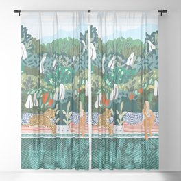 Chilling    #illustration #painting Sheer Curtain