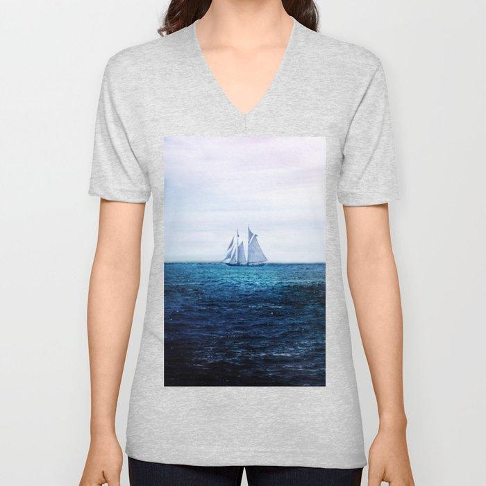 Sailing Ship on the Sea Unisex V-Neck
