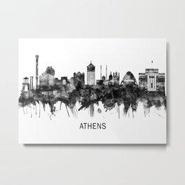 Athens Greece Skyline BW Metal Print