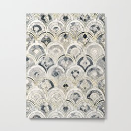 Monochrome Art Deco Marble Tiles Metal Print
