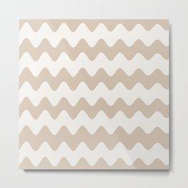 Pantone Hazelnut Soft Zigzag Rippled Horizontal Line Pattern Metal Print