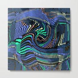 Tile Puzzle Blues Metal Print