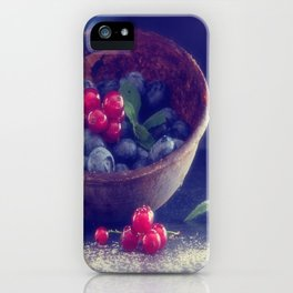#Dark #Blue #berries #contrasting with #bright #red #berries iPhone Case