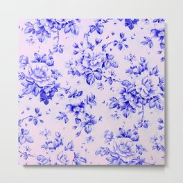 blue earthenware vintage floral Metal Print