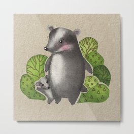 Watercolour Woodland Forest Badger and Baby Metal Print