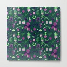 Houseplants Pattern Green Metal Print