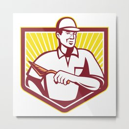 Tiler Plasterer Mason Masonry Worker Retro Metal Print