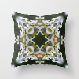 Lacy Serviceberry Mandala - Amelanchier blossoms 0033 k1 Throw Pillow