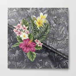 Hawaiian Floral Arrangement on Tonal Tapa Metal Print