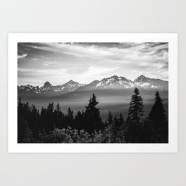 Morning in the Mountains Black and White Kunstdrucke