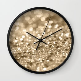 Champagne Gold Lady Glitter #2 #shiny #decor #art #society6 Wall Clock