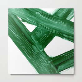 Emerald Crossroads, minimalistic emerald green and white, abstract lines, alcohol ink art, watercolor style Metal Print