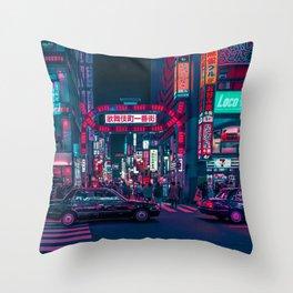 Cyberpunk Tokyo Street Throw Pillow