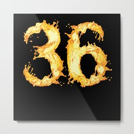 "36 Birthday ""yellow Water Splash"" Metal Print"