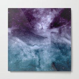Watercolor and nebula abstract design Metal Print