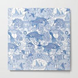chinoiserie toile blue Metal Print