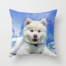 Winter Snowdog Throw Pillow