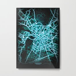 Angers, France, Blue, White, Neon, Glow, City, Map Metal Print